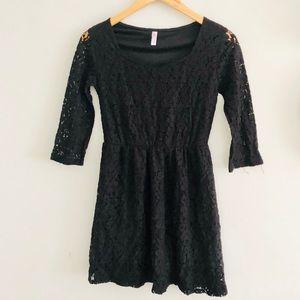 Xhilaration Black Floral Lace Mini Dress